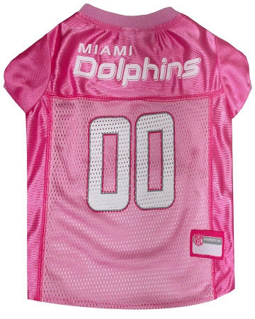 Miami DOLPHINS NFL dog Jersey in color Pink - Daisey's Doggie Chic - 1