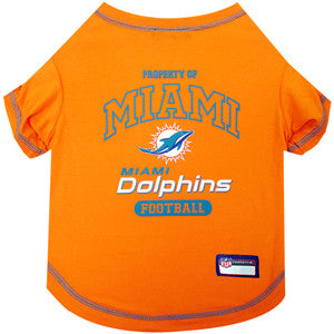 Miami DOLPHINS  NFL  dog T-Shirt in color Citrus Orange - Daisey's Doggie Chic - 1
