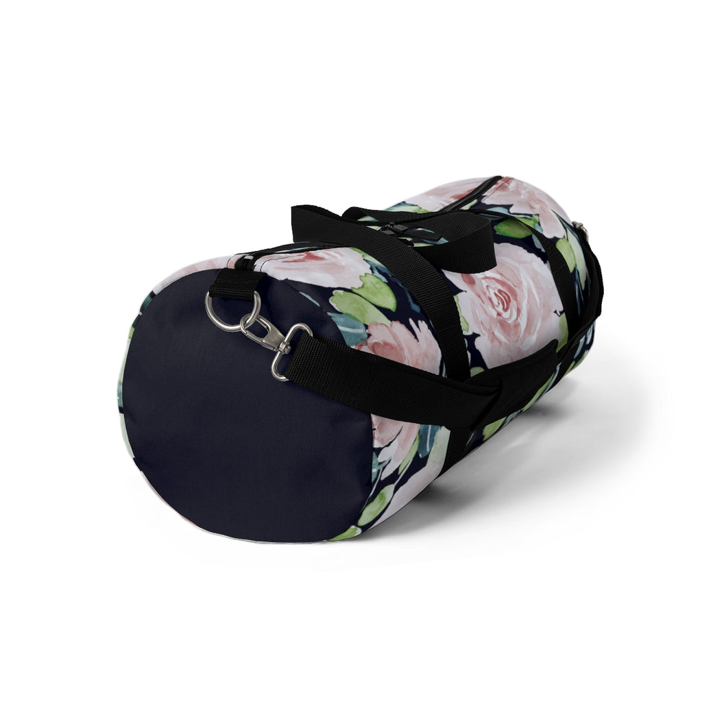 Pale Pink Roses Duffel with Navy Blue Solid Ends Duffel  Bag - Daisey's Doggie Chic