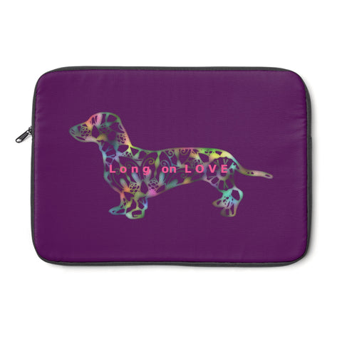 Laptop Sleeve Case - Dachshund Long on LOVE - Color Eggplant - Personalize Free - Daisey's Doggie Chic