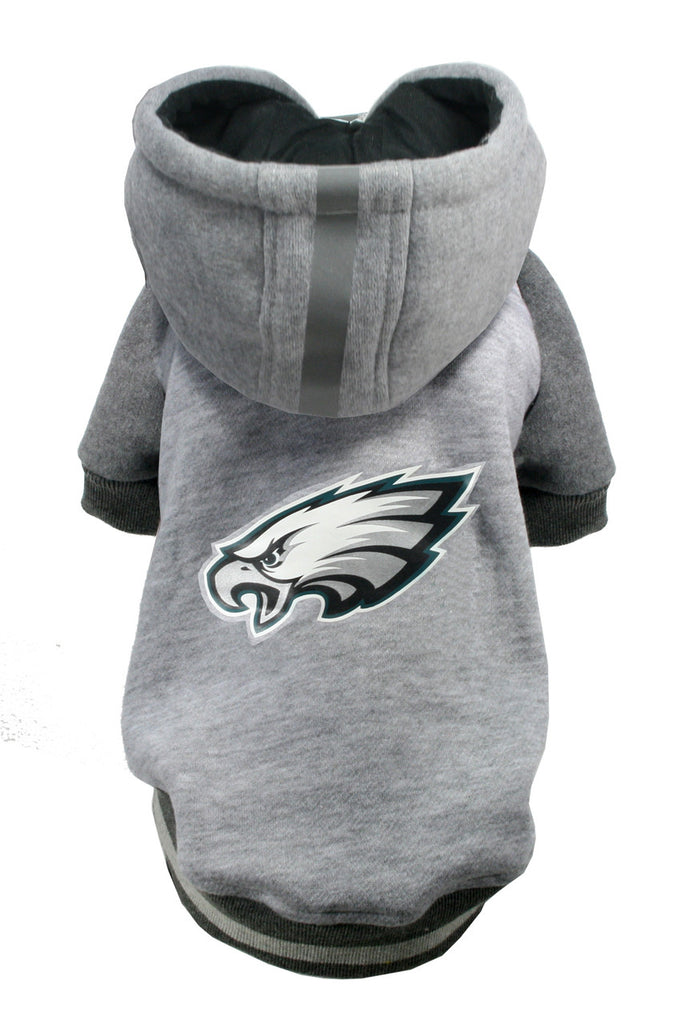 Philadelphia EAGLES NFL dog Helmet Hoodie in color Athletic Gray - Daisey's Doggie Chic - 1