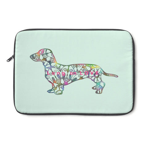 Laptop Sleeve Case - Dachshund Long on LOVE - Color Sea Spray - Personalize Free - Daisey's Doggie Chic
