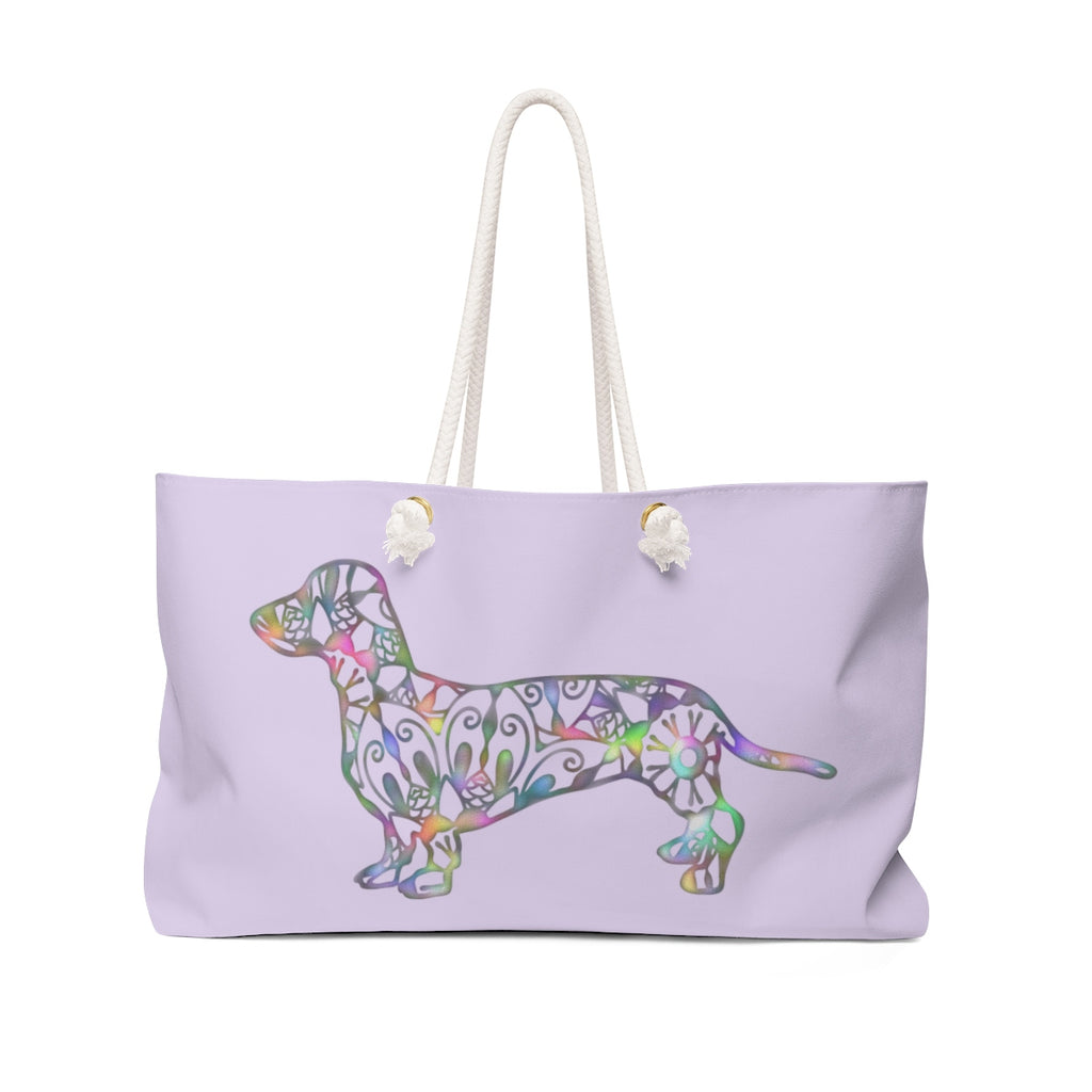Medium Lavender A Dachshund Weekender Bag - Color Lavender - Oversized Tote – Free Personalization - Daisey's Doggie Chic