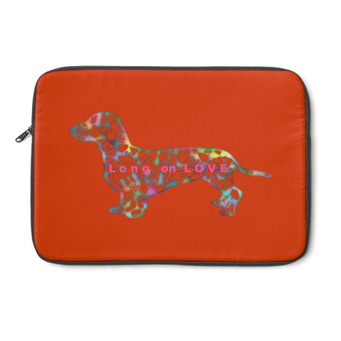 Laptop Sleeve Case - Dachshund Long on LOVE - Color Burnt Sienna - Personalize Free - Daisey's Doggie Chic