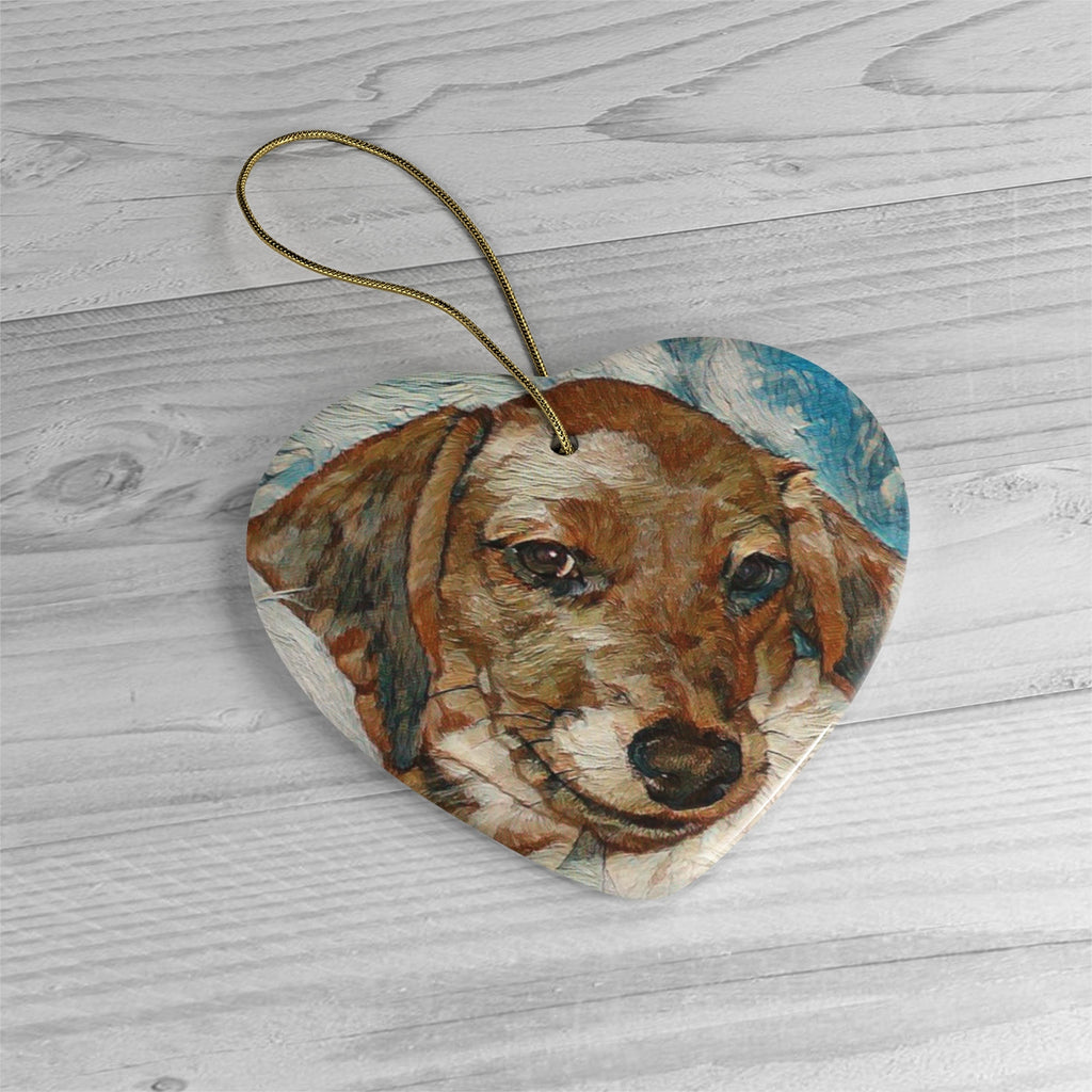 Daisey's Custom Ceramic Ornaments - Art made from Photo - Choice of Circle, Oval, Heart or Star - Daisey's Doggie Chic