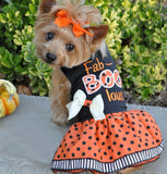Fab-BOO-lous Halloween Themed Party Harness Dress in Color Orange/Black - Daisey's Doggie Chic