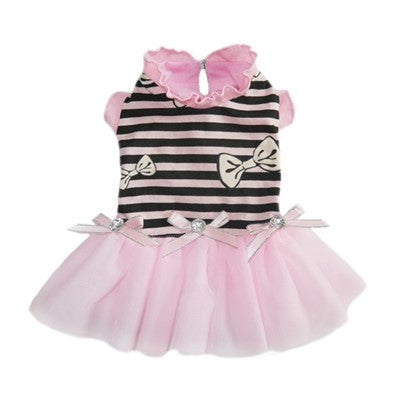 Darling Felicity Party Dress in Pink/Black Stripes - Daisey's Doggie Chic