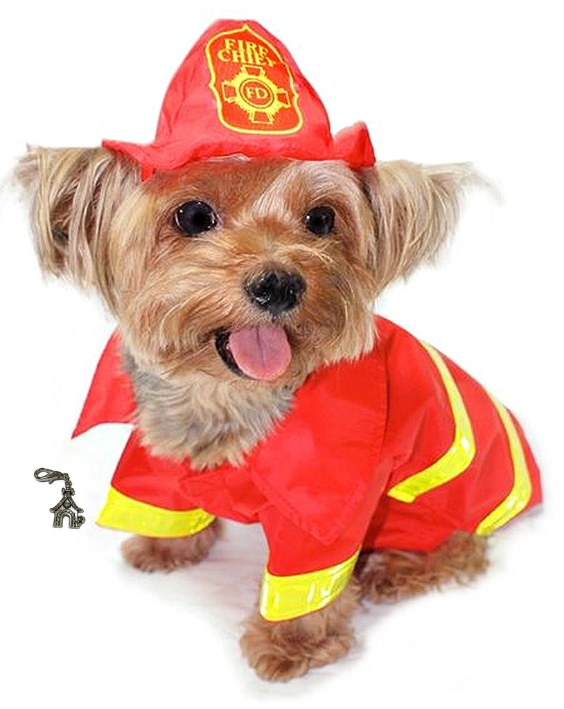 Cute Doggie Fireman Fire Chief Costume Raincoat with Helmet Style Hat in color Red/Yellow - Daisey's Doggie Chic