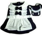 Classic French Maid Uniform with Bonnet  - Dog Costume - Daisey's Doggie Chic