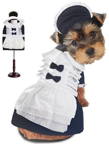 Classic French Maid Uniform with Bonnet  - Dog Costume - Daisey's Doggie Chic - 1