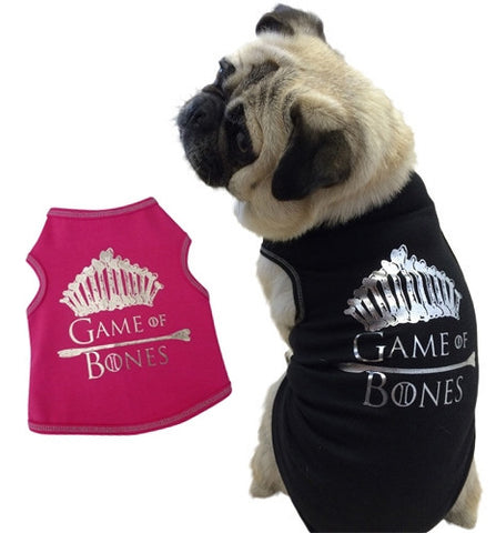 Game of Bones Themed Tank Tee in color Pink/Silver or Black/Silver - Daisey's Doggie Chic