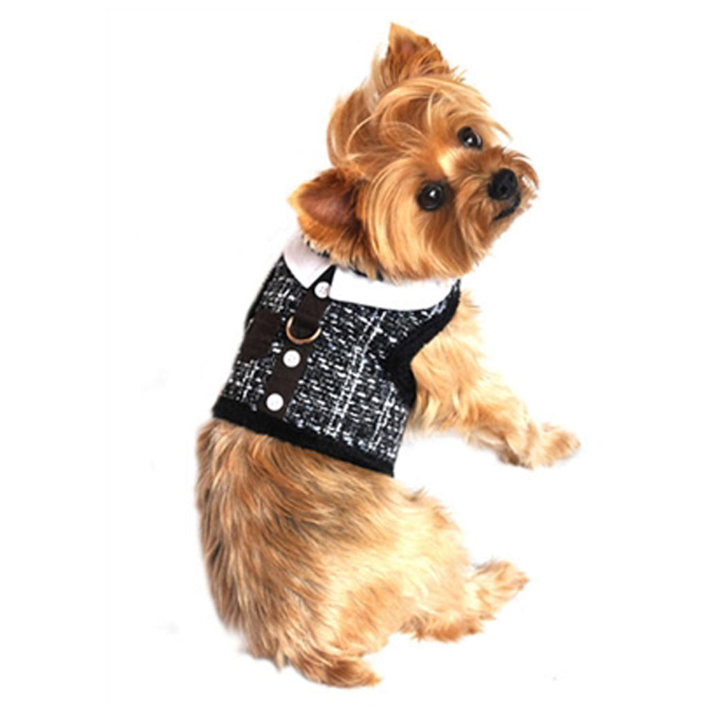 "Doggie Design ""Grey Tweed""  Plush Minky Fur Harness Vest with matching Leash - Daisey's Doggie Chic"