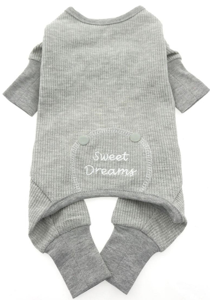 Sweet Dreams Long John Thermal Pajamas in color Heather Gray - Daisey's Doggie Chic