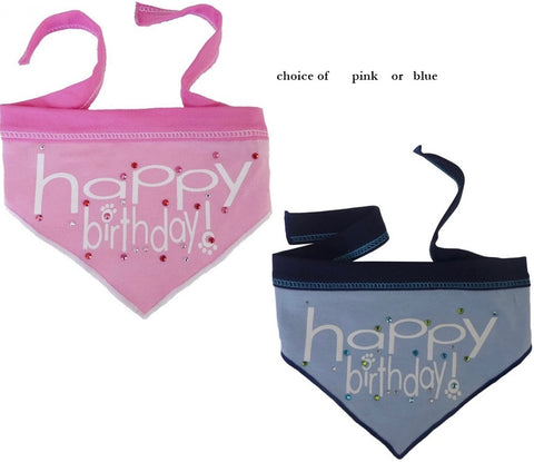 Happy Birthday (Girl or Boy) Jeweled Bandana Scarf in Choice of  Pink or Blue - Daisey's Doggie Chic