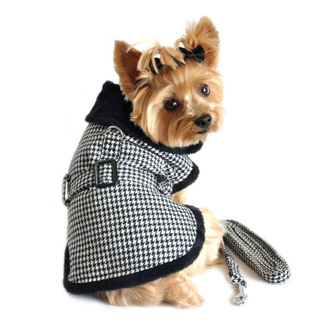Black Houndstooth Minky Fur Harness Jacket with Matching Leash in color Black/White - Daisey's Doggie Chic
