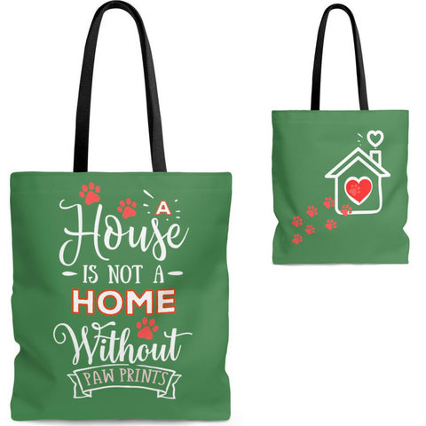 Carryall Tote Bag - House not a Home Without Paw Prints - 2-sided theme  - in Sizes S,M ,L - Color Zucchini - Personalize it Free - Daisey's Doggie Chic