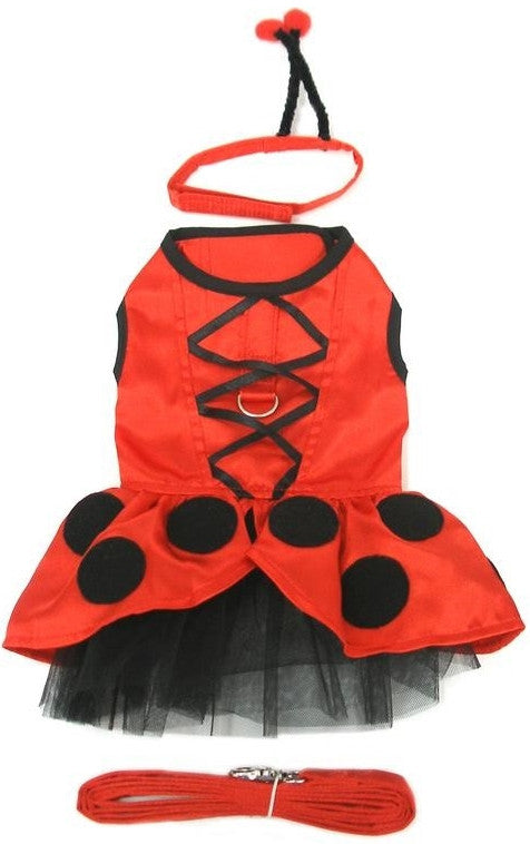 Ladybug Fairy Costume Dress with Antennae and Leash - Daisey's Doggie Chic