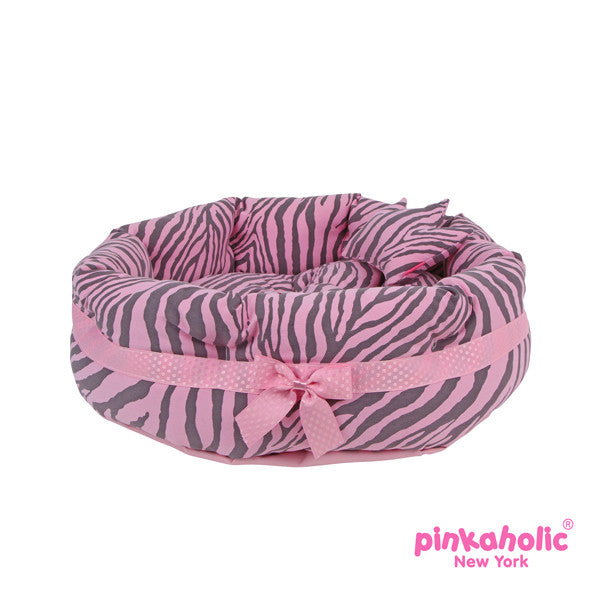 "Pinkaholic Pink Zebra ""Leo"" Luxury Dog Bed with Reversible Cushion and Bone Toy - Daisey's Doggie Chic"