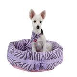 "Pinkaholic Lavender Zebra ""Leo"" Luxury Dog Bed with Reversible Cushion and Bone Toy - Daisey's Doggie Chic - 1"
