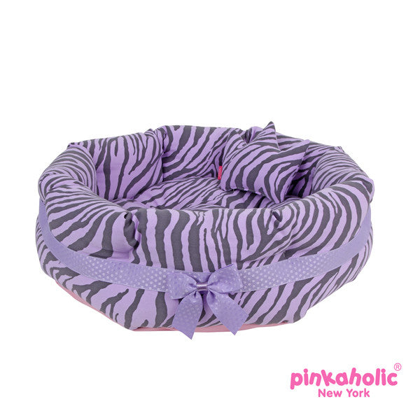 "Pinkaholic Lavender Zebra ""Leo"" Luxury Dog Bed with Reversible Cushion and Bone Toy - Daisey's Doggie Chic"