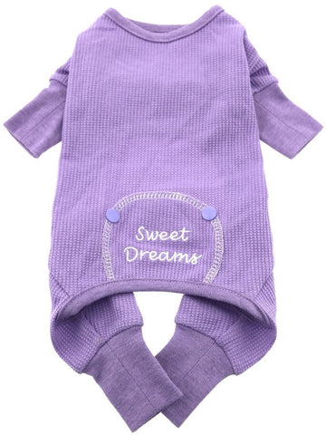 Sweet Dreams Long John Thermal Pajamas in color Lavender - Daisey's Doggie Chic