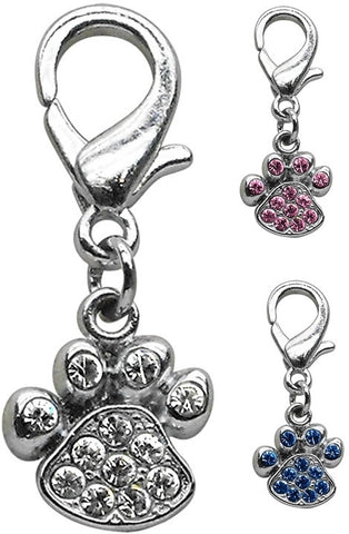 Rhinestone Paw Clip-on Charm choose from 3 colors