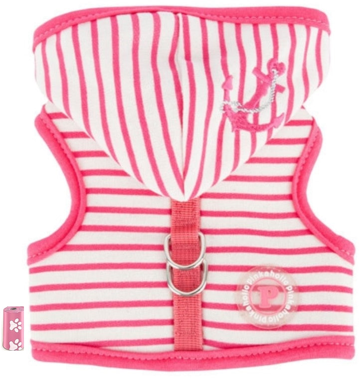 Nautical Anchor Striped Hooded Harness Vest in 3 colors - Daisey's Doggie Chic