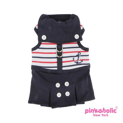 "Pinkaholic NY ""Middy Flirt Harness Dress"" in Navy Nautical Stripe - Daisey's Doggie Chic"