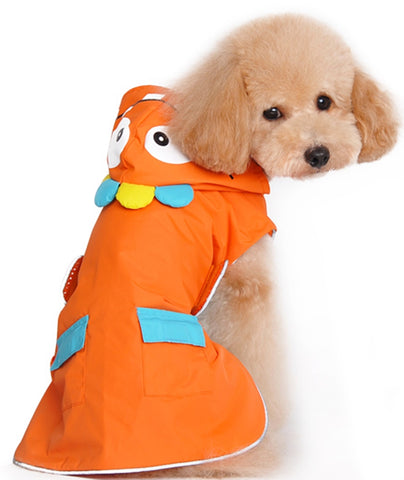 Cute Little Monster Themed Raincoat for Dogs in Color Orange Multi - Daisey's Doggie Chic
