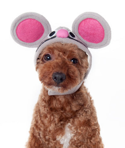 Plush Gray Mouse Hat with Pink Ears for Dogs - Mouse King Sizes XS to XL - Daisey's Doggie Chic