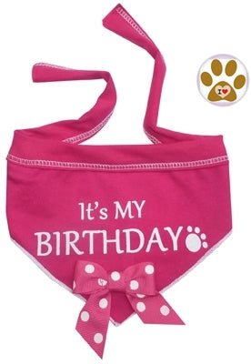 It's My Birthday (Girl or Boy) Bandana Scarf with Pin in Choice of color Pink or Blue - Daisey's Doggie Chic