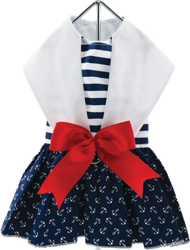 Anchors Away Nautical Striped Navy Blue Harness Party Dress with Charm and matching Leash - Daisey's Doggie Chic