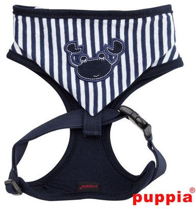 Crabby Beach Party Blue Hooded Choke-Free Halter Harness with Smart Tag - Daisey's Doggie Chic