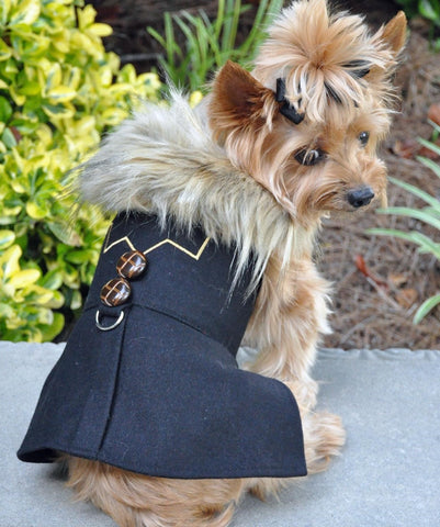 Chevron Black Wool & Minky Fur Harness Jacket with Matching Leash - Daisey's Doggie Chic