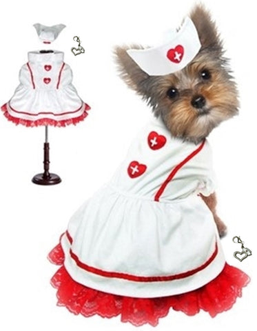 Florence Nightingale Classic Sweetheart Nurse Hat and Uniform -  Dog Costume includes Themed Clip On Charm - Daisey's Doggie Chic