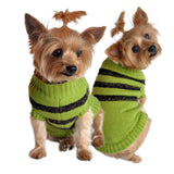 Doggie Design Striped Dog Sweater in Color Olive Green/Chocolate Brown - Daisey's Doggie Chic - 1