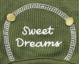 Sweet Dreams Long John Thermal Pajamas in color Olive Green - Daisey's Doggie Chic