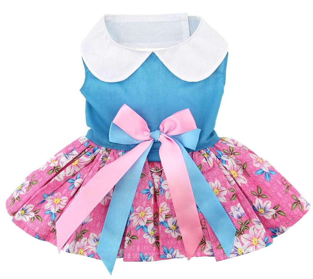 Pink & Blue Floral Party Harness Dress with Charm and matching Leash - Daisey's Doggie Chic