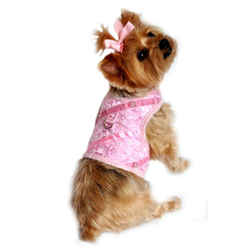 "Doggie Design ""Pink Silver Brocade"" Jeweled Plush Minky Fur Harness Vest with matching Leash - Daisey's Doggie Chic"