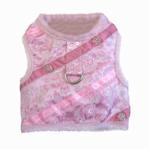 Doggie Design Pink Silver Brocade Jeweled Plush Faux Minky Fur Harness Vest with matching Leash - Daisey's Doggie Chic