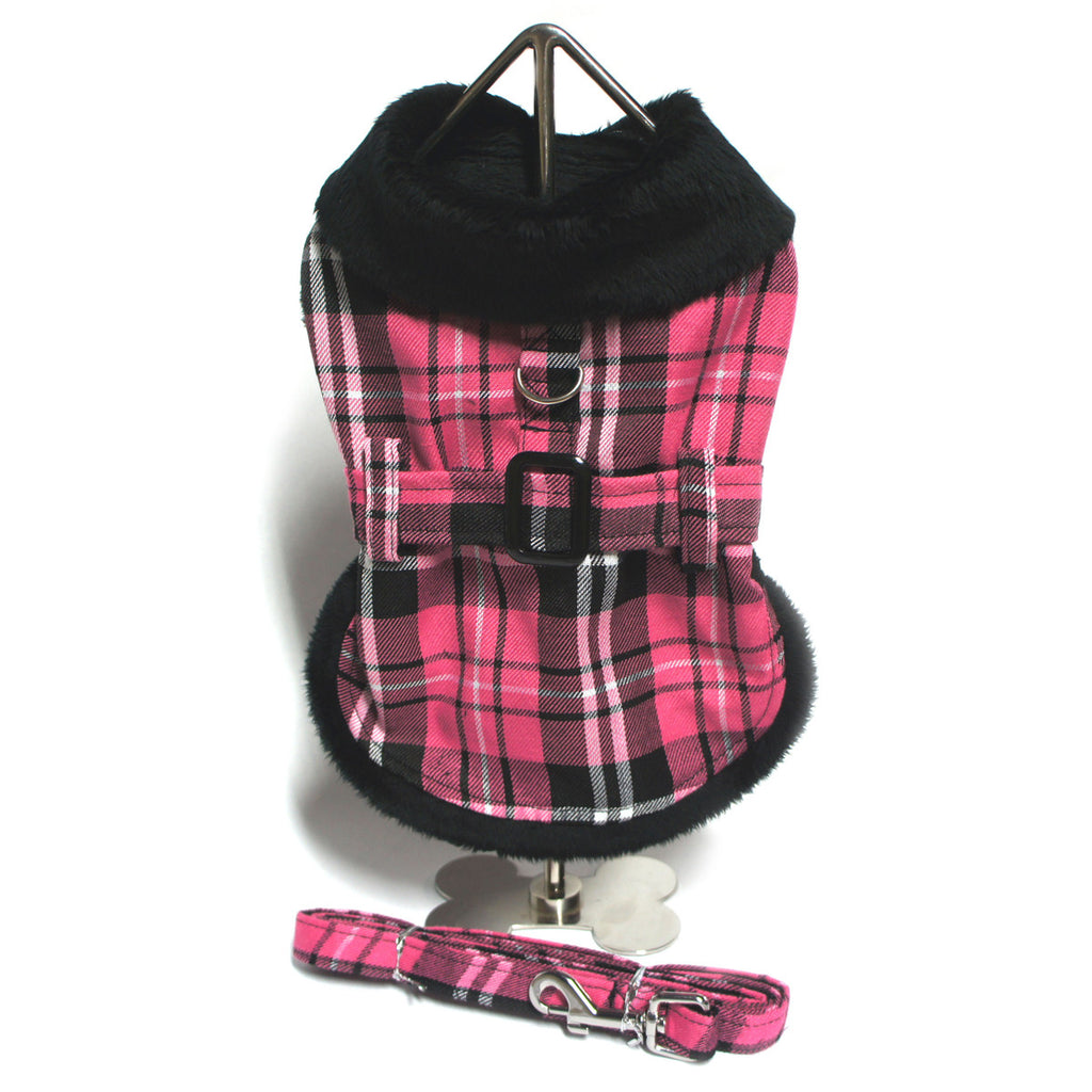 Doggie Design Plaid Faux Minky Fur Harness Jacket with Matching Leash in color Hot Pink Plaid - Daisey's Doggie Chic
