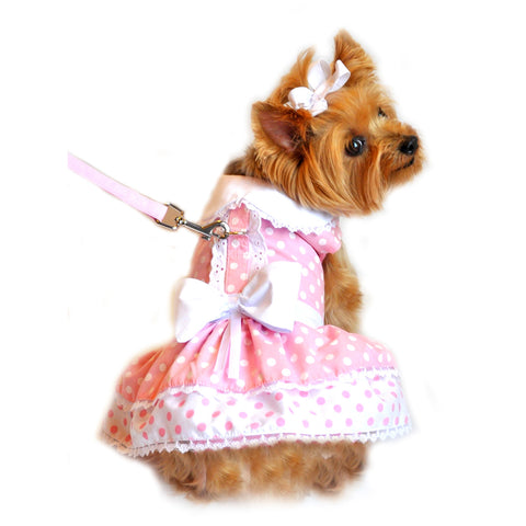 Pink Polka Dots & Bows Harness Party Dress with matching Leash set in Pink/White - Daisey's Doggie Chic
