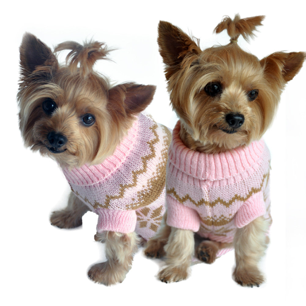 Doggie Design Snowflake Dog Sweater in Color Pink Multi - Daisey's Doggie Chic - 1