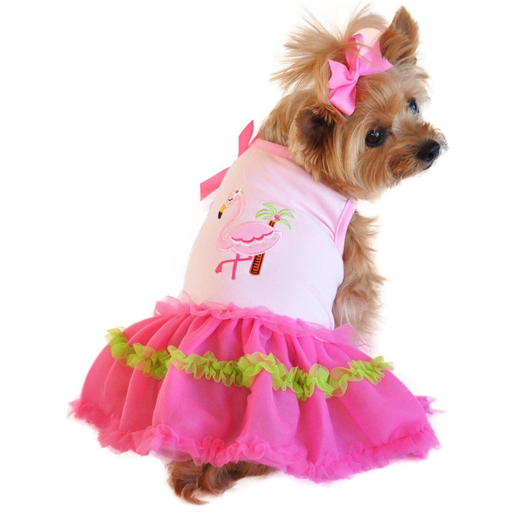 Pink Flamingo & Palm Tulle Skirted Party Dress - Daisey's Doggie Chic