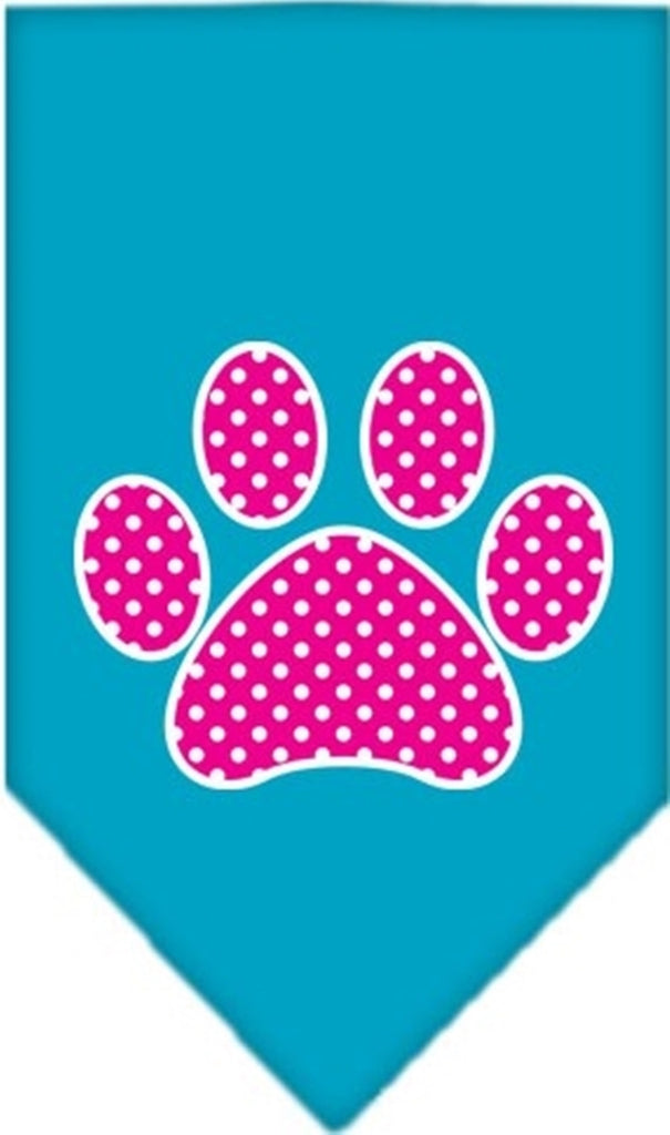 Pink Awareness Swiss Dot Paw Bandana Scarf in color Turquoise - Daisey's Doggie Chic - 1