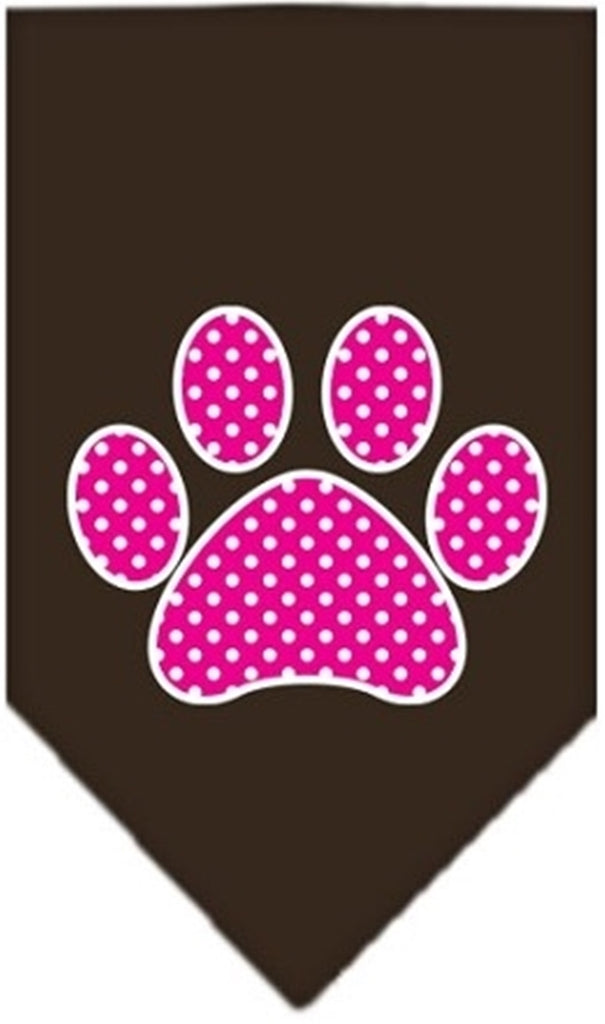 Pink Awareness Swiss Dot Paw Bandana Scarf in color Chocolate - Daisey's Doggie Chic