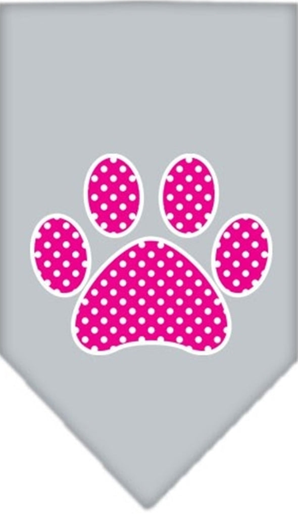 Pink Awareness Swiss Dot Paw Bandana Scarf in color Silver Gray - Daisey's Doggie Chic - 1
