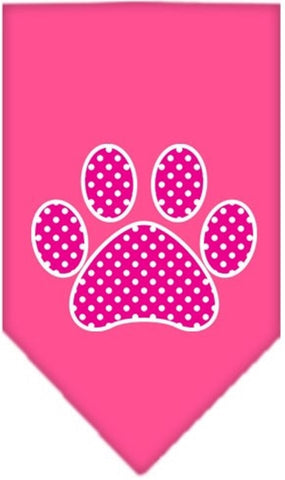 Pink Swiss Dotted Paw Bandana Scarf in color Bright Pink - Daisey's Doggie Chic