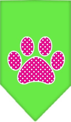 Pink Swiss Dotted Paw Bandana Scarf in color Lime Green - Daisey's Doggie Chic