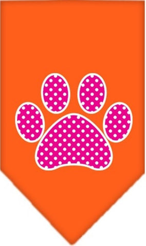Pink Swiss Dotted Paw Bandana Scarf in color Orange - Daisey's Doggie Chic